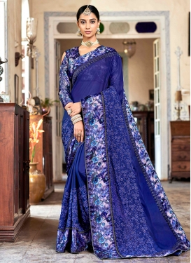 Fab Blue Embroidered Classic Saree
