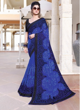 Fab Faux Georgette Embroidered Blue Saree