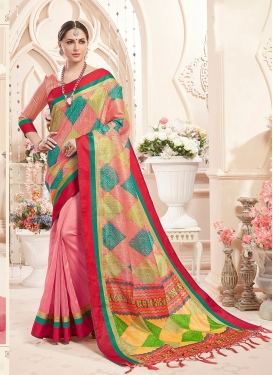 Fab Multi Colour and Pink Art Silk Classic Saree