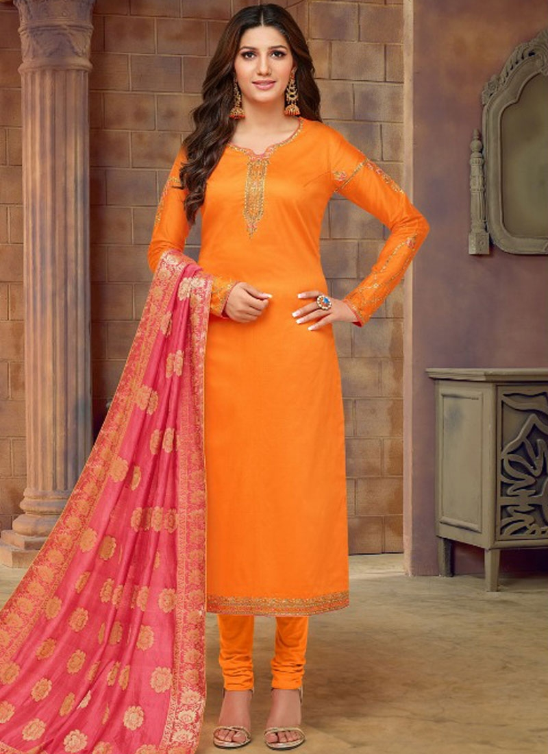 Fabulous Orange Embroidered Churidar Designer Suit