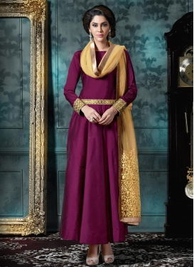 Fabulous Resham Work Fuchsia Long Length Trendy Salwar Suit