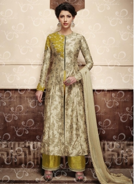 Fancier Silk Beige and Gold Aari Work Designer Palazzo Salwar Kameez