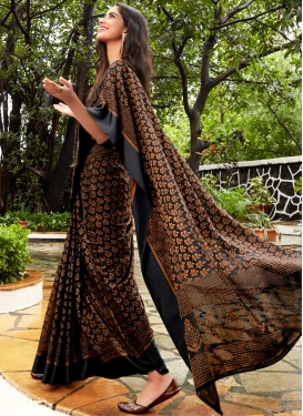 Fancy Fabric Abstract Print Black Printed Saree