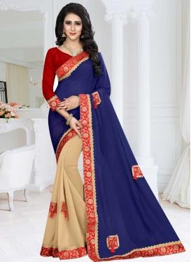 Fancy Fabric Beige and Navy Blue Lace Work Half N Half Trendy Saree