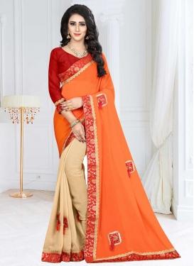 Fancy Fabric Beige and Orange Half N Half Saree For Festival
