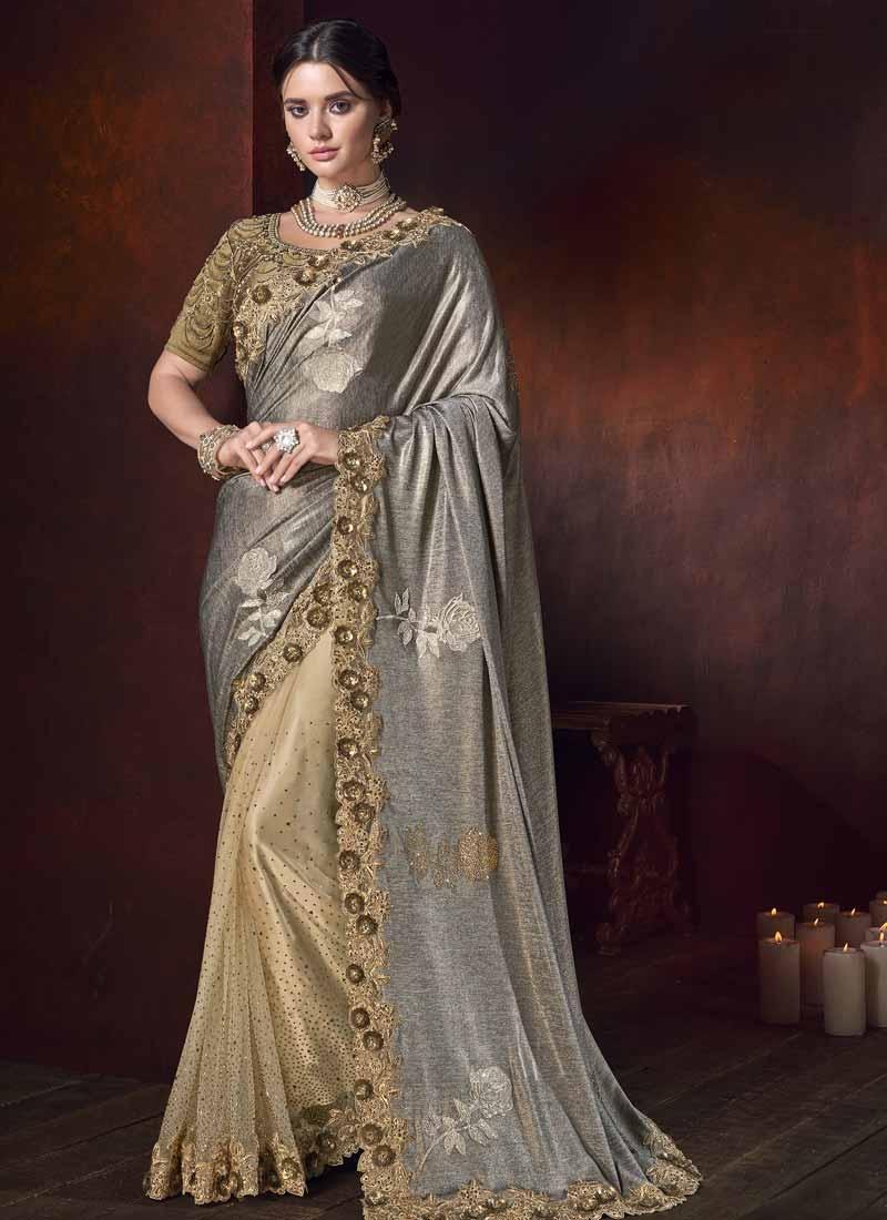 Fancy Fabric Cream and Grey Beads Work Half N Half Trendy Saree