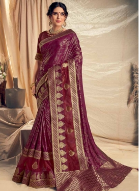 Fancy Fabric Digital Print Work Designer Contemporary Style Saree