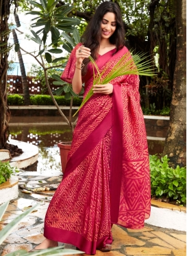 Fancy Fabric Rose Pink Printed Saree