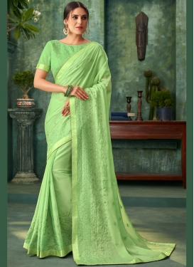 Fantastic Faux Georgette Embroidered Mint Green Traditional Designer Saree