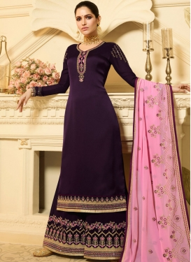 Fantastic Purple Designer Palazzo Salwar Suit