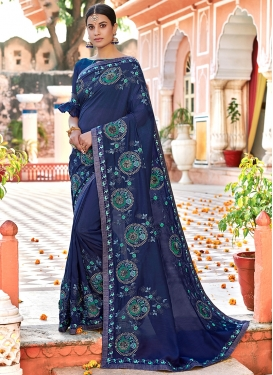 Fascinating Navy Blue Embroidered Designer Traditional Saree