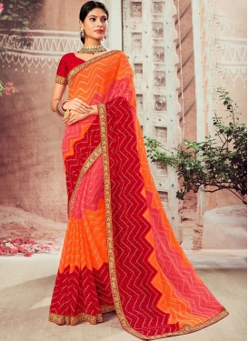 Faux Chiffon Abstract Print Orange and Red Classic Designer Saree