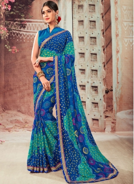Faux Chiffon Abstract Print Shaded Saree in Blue