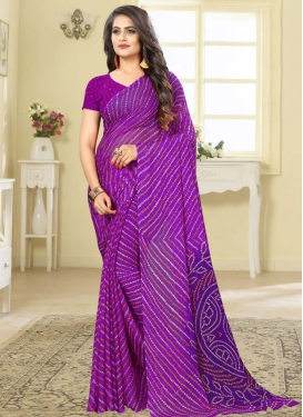 Faux Chiffon Bandhej Print Work Designer Contemporary Style Saree