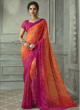 Faux Chiffon Bandhej Print Work Fuchsia and Orange Traditional Designer Saree