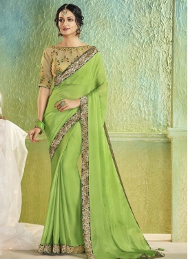 Faux Chiffon Beige and Mint Green Designer Contemporary Style Saree