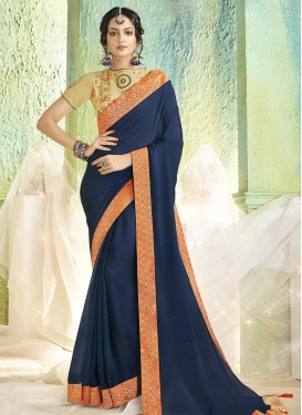 Faux Chiffon Beige and Navy Blue Contemporary Style Saree