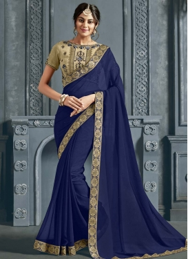 Faux Chiffon Beige and Navy Blue Designer Contemporary Style Saree For Casual