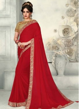 Faux Chiffon Beige and Red Designer Contemporary Saree