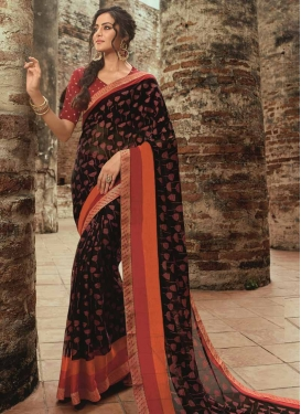 Faux Chiffon Black and Rust Contemporary Style Saree