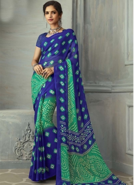 Faux Chiffon Blue and Sea Green Trendy Classic Saree For Casual