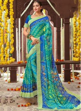Faux Chiffon Blue And Teal Traditional Saree