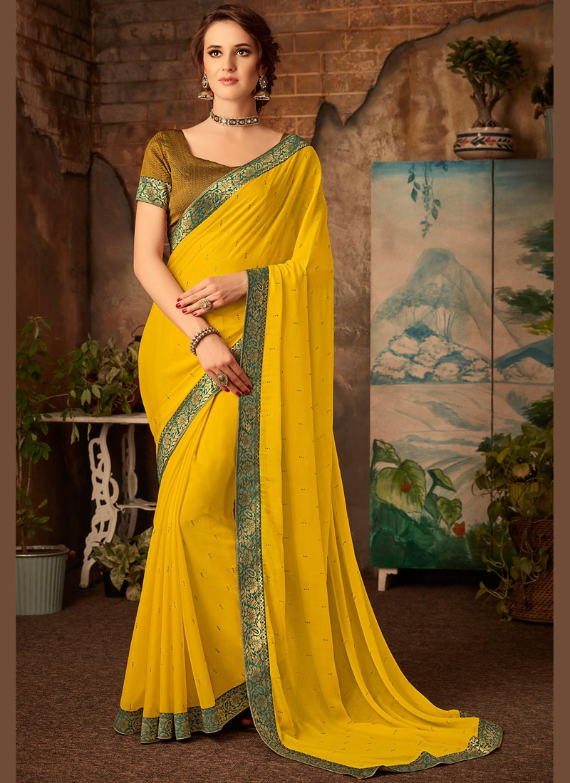 Faux Chiffon Classic Saree in Yellow