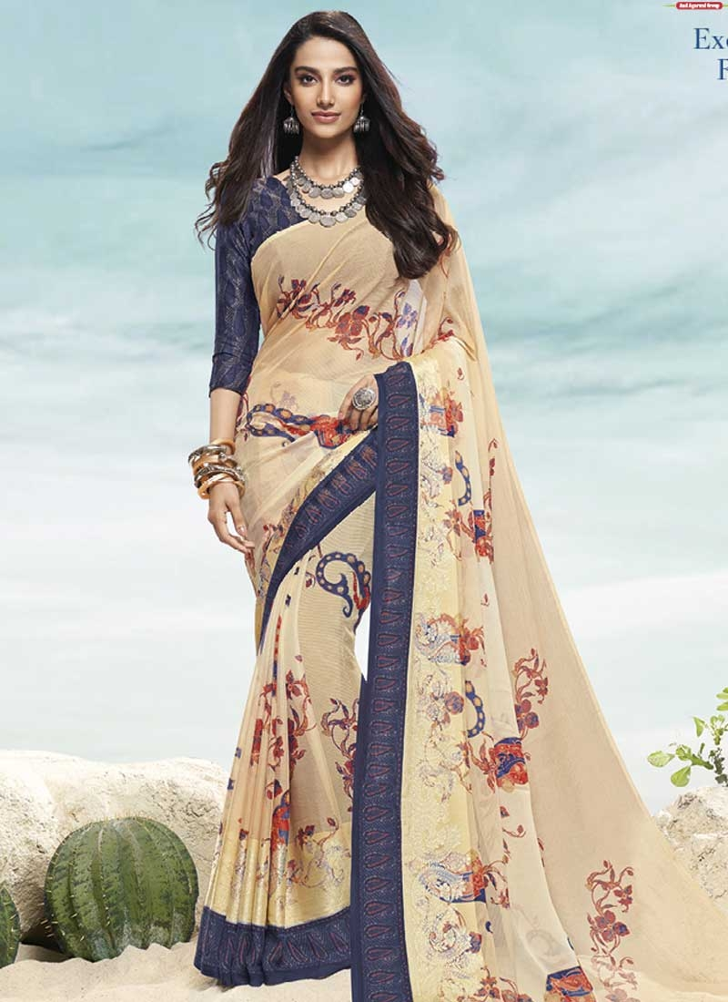 Faux Chiffon Cream and Navy Blue Contemporary Style Saree