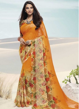 Faux Chiffon Cream and Orange Designer Contemporary Saree