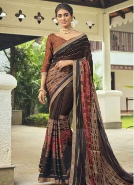 Faux Chiffon Designer Contemporary Style Saree For Casual