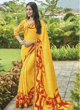 Faux Chiffon Digital Print Work Contemporary Style Saree
