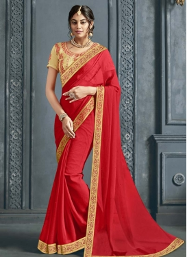 Faux Chiffon Embroidered Work Designer Contemporary Saree