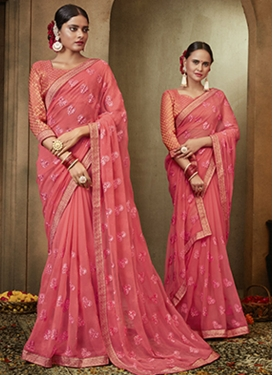 Faux Chiffon Embroidered Work Designer Contemporary Style Saree