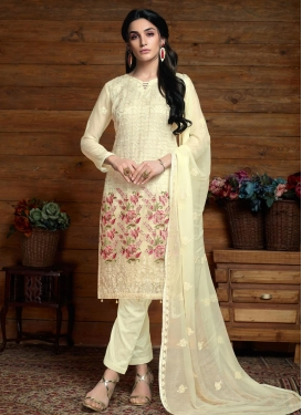 Faux Chiffon Embroidered Work Pant Style Pakistani Salwar Kameez