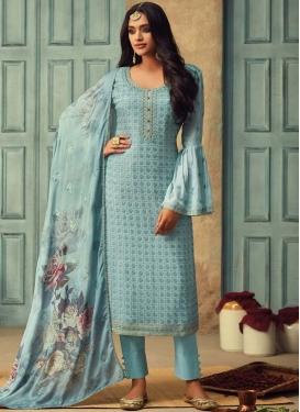 Faux Chiffon Embroidered Work Pant Style Pakistani Salwar Kameez