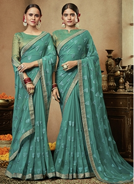 Faux Chiffon Embroidered Work Traditional Designer Saree