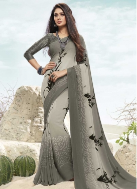 Faux Chiffon Grey and Silver Color Digital Print Work Designer Traditional Saree