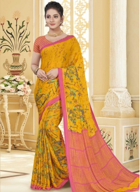 Faux Chiffon Hot Pink and Mustard Trendy Classic Saree For Casual