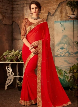 Faux Chiffon Lace Work Trendy Classic Saree