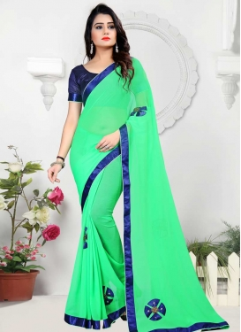Faux Chiffon Mint Green and Navy Blue Beads Work Traditional Saree