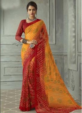 Faux Chiffon Orange and Red Bandhej Print Work Trendy Classic Saree