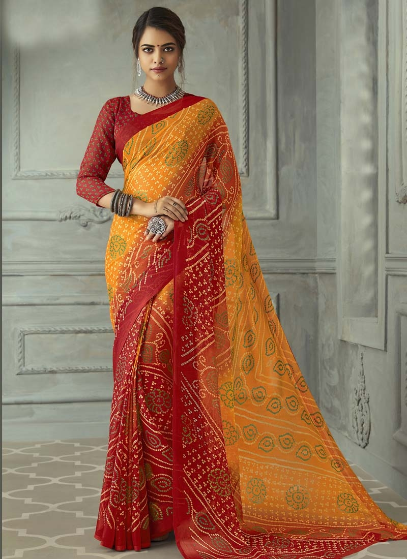 Faux Chiffon Orange and Red Bandhej Print Work Trendy Classic Saree