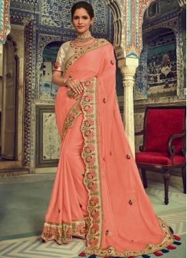 Faux Chiffon Peach Embroidered Traditional Designer Saree