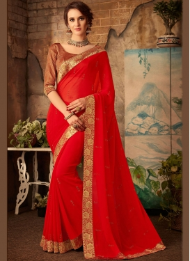 Faux Chiffon Red Classic Saree