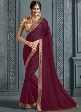 Faux Chiffon Traditional Saree in Maroon