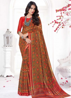 Faux Chiffon Trendy Classic Saree For Casual
