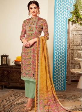 Faux Crepe Abstract Print Multi Colour Pant Style Suit