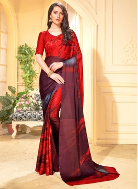 Faux Crepe Red Trendy Saree