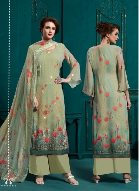 Faux Georgette Abstract Print Palazzo Style Pakistani Salwar Suit