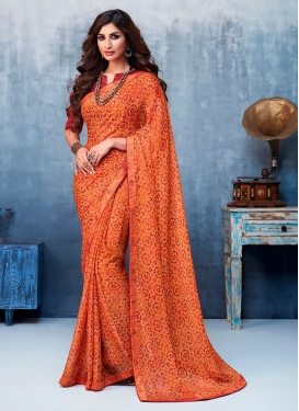 Faux Georgette Abstract Print Printed Saree in Orange